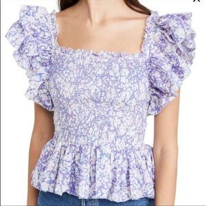 NWT Love the Label Anthro Smocked Ruffle Blouse Lg